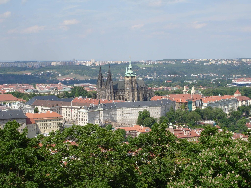 Prague Castle as seen from the top of the Petrin Lookout Tower. I wasn't sure whether it was the stunning views that had taken my breath away or the climb up the 299 steps to the top of the tower