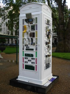 "I spent a good half-an-hour gleefully playing with the buttons and levers on Michael Waller-Bridge's ""Press for Help"" design in Barclay Square, even though I knew none of them did anything (apart from making me feel like an excitable child all over again)"