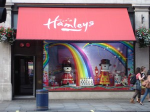 Wenlock and Mandeville taking cover from the rain in Hamleys toy store, Regent Street