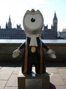 An uncanny resemblance to John Bercow. Ceremonial Speaker Wenlock along the South Bank.
