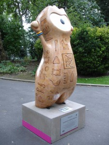 Cleopatra's Needle Wenlock in Victoria Embankment Gardens, deciphering the Ancient Egyptian Olympic events of e.g. handbag-throwing, stamp-collecting and pipe-smoking