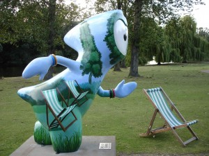 Deckchair Wenlock kindly offering his seat to me. I'm not that old! Regent's Park