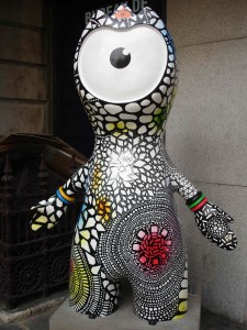 A diamond in the rough ... literally. Gemstones Wenlock sporting a glamorous jumpsuit by some unglamorous bins along Piccadilly