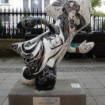 The Olympics Mascot that dare not speak its name (because it hasn't got a mouth). Novel Wenlock by the Oscar Wilde monument near  St-Martin-in-the-Fields