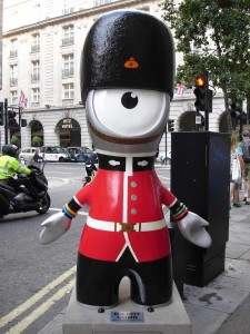 Queen's Guard Wenlock confusing foes by suggesting he's unarmed (I bet his rifle is under his bearskin hat)