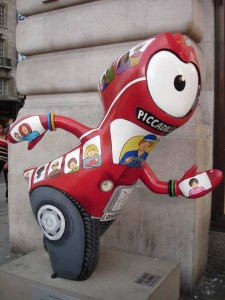 I hope Red Bus Wenlock knows that if he's a number 15 from Piccadilly Circus, he'll have to change at Aldgate East for the number 25 if he wants to get to Stratford