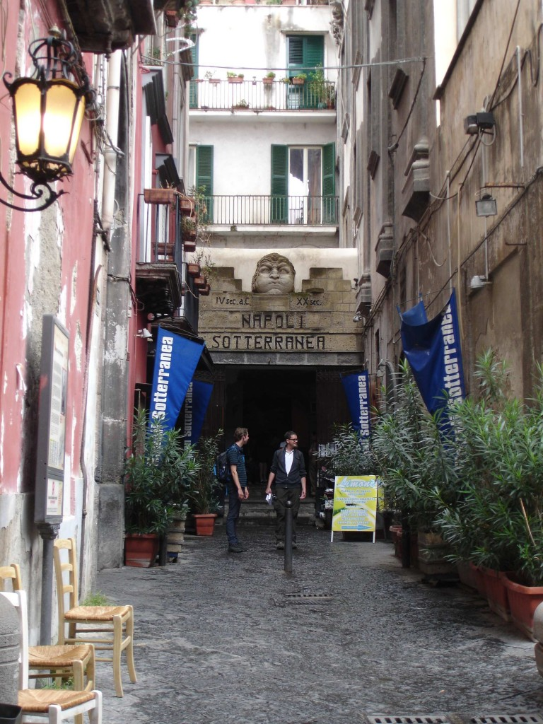 The entrance to the Napoli Sotterranea, hidden away down a side street next to the Chiesa di San Paolo Maggiore on Piazza San Gaetano (nearest metro station: Cavour), where the city's Roman Forum once stood