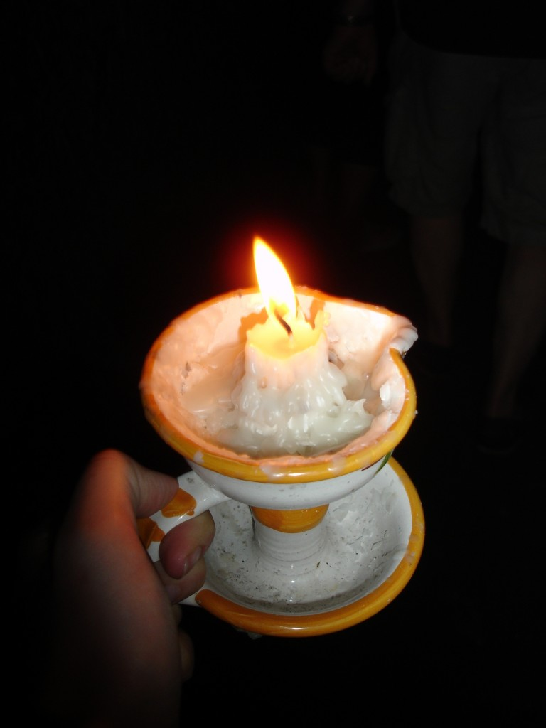 Wee Willy Winkie: everyone was armed with a candle (of their choice) to light their passage through the tunnels. Health & Safety would never allow this in Britain