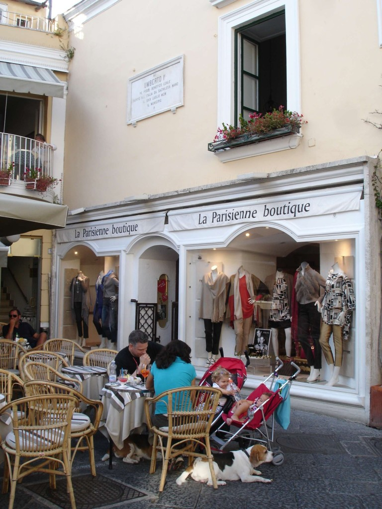 The world famous La Parissienne - still in business - in the town's Piazza Umberto I, where the original Capri Pant was born. The made-to-measure pants in the window were haute-couture with a price tag to match (lovely though they were, I think I'll stick to M&S, thanks)