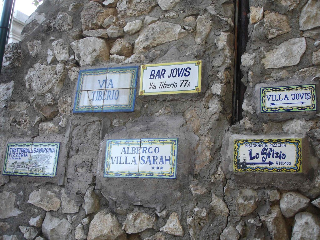 Virtually all public signs in Capri are made in the island's signature tile design