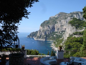 Sipping my morning cuppa overlooking the Marina Piccolo and Monte Solero in Capri. Arguably worth the very high nightly hotel rate for a cupboard sized bedroom