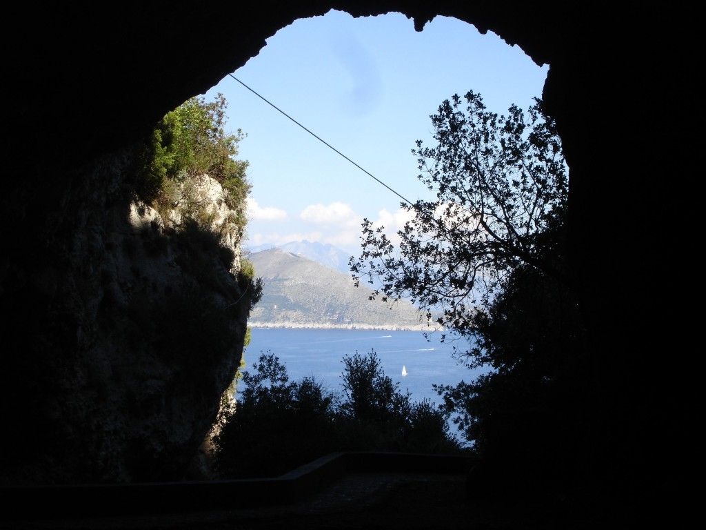 The view out from inside the Grotta di Matermania. The electricity cable is most likely twentieth century