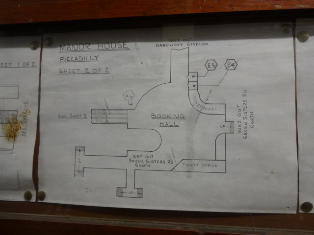 One of two drawings from the 1940s detailing the layout of Holden's original booking hall layout for Manor House Tube station