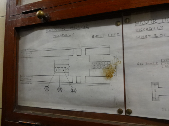 The second drawing in the series detailing the escalators down to the platforms. These drawings were on display in front of the 'E3' control cabinet in the disused control room that is detailed in the middle of the drawing. A date could not be put on the stain on the display case glass
