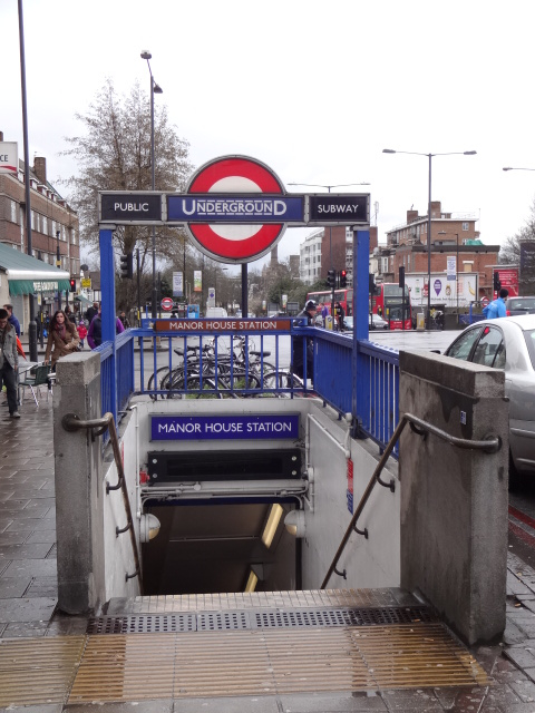 Streamlined planning - one of Charles Holden's street-level entrances to Manor House Tube station as it looks today. Designed for all weathers