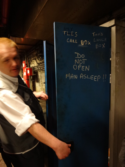 One of our guides disproving the claim, although the locker did seem to contain a number of items that looked like track 'sleepers' (hawh-hawh!)