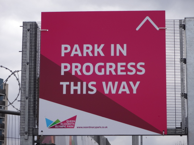 Entrance to the park for the 'Park in Progress' tour was from Pudding Mill Lane DLR train station