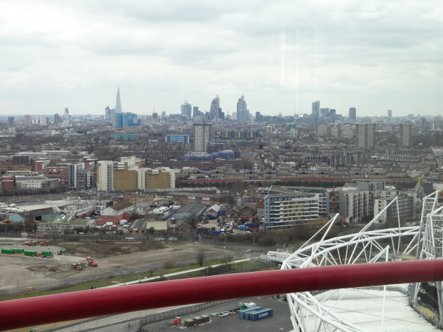 The City, The Shard and the lack of British Summertime weather (the clocks went forward earlier) from the top of The Orbit