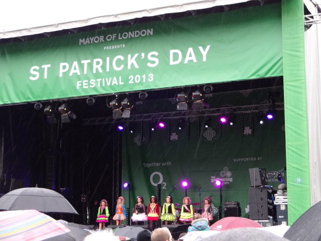 Beautiful traditional Irish dancing costumes brought a welcome splash of colour to yet another grey day in London