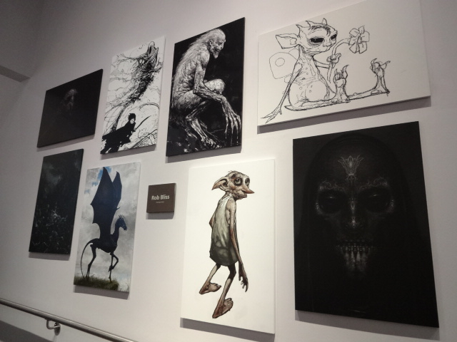 Amazing drawings and artwork of the sets, costumes and characters on display in studio K including these pieces by concept artist Rob Bliss (is that a portrait of Peter Wyngarde's General Klytus on the right there?)