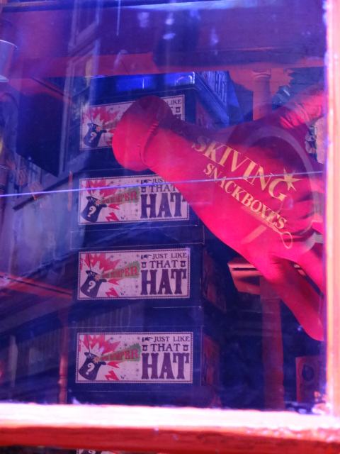 So Tommy Cooper really was a wizard: a detail in the window of 'Honeydukes'So Tommy Cooper really was a wizard: a detail in the window of 'Honeydukes'