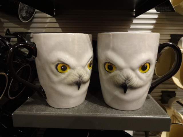 Before entering the tour there's a gift shop where visitors can buy Harry Potter themed items, like these very scary Hedwig mugs