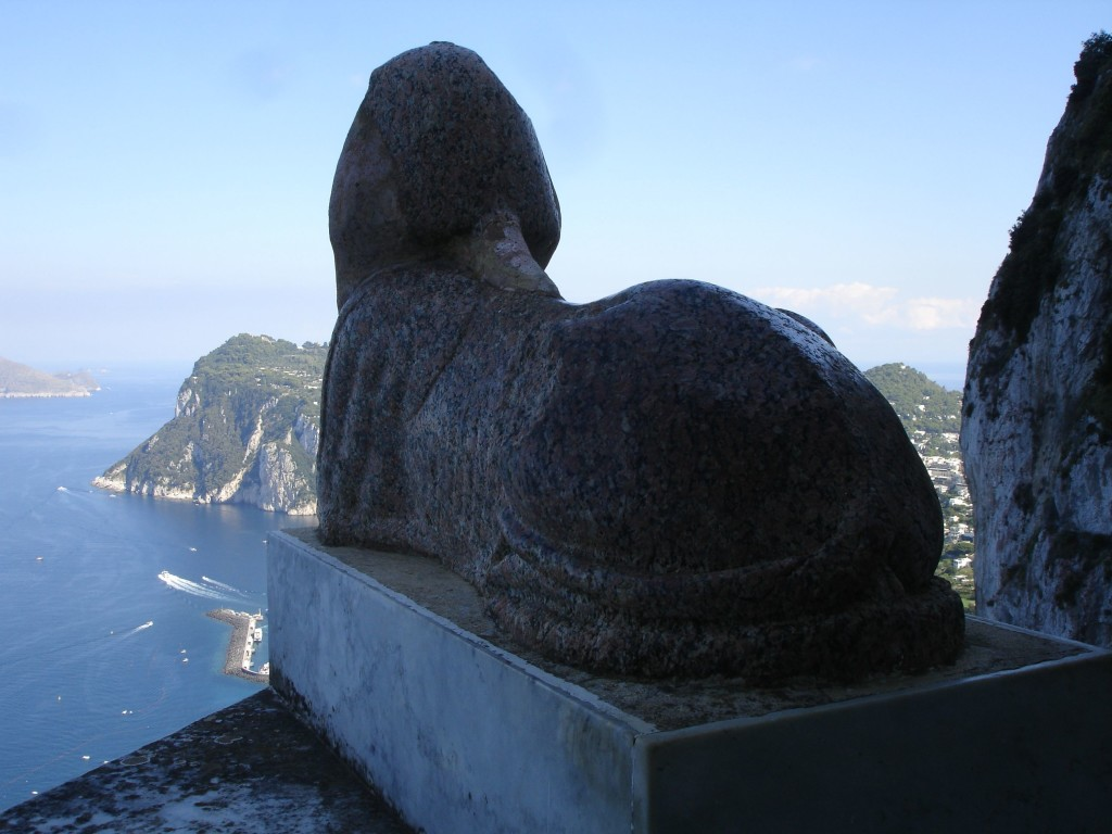 A Caprian gnome. Although it can't be seen in this photo (it was difficult to photograph it without threat of falling over the edge of the cliff), the nose of the villa's sphinx has worn away from erosion and superstitious visitors rubbing it for luck