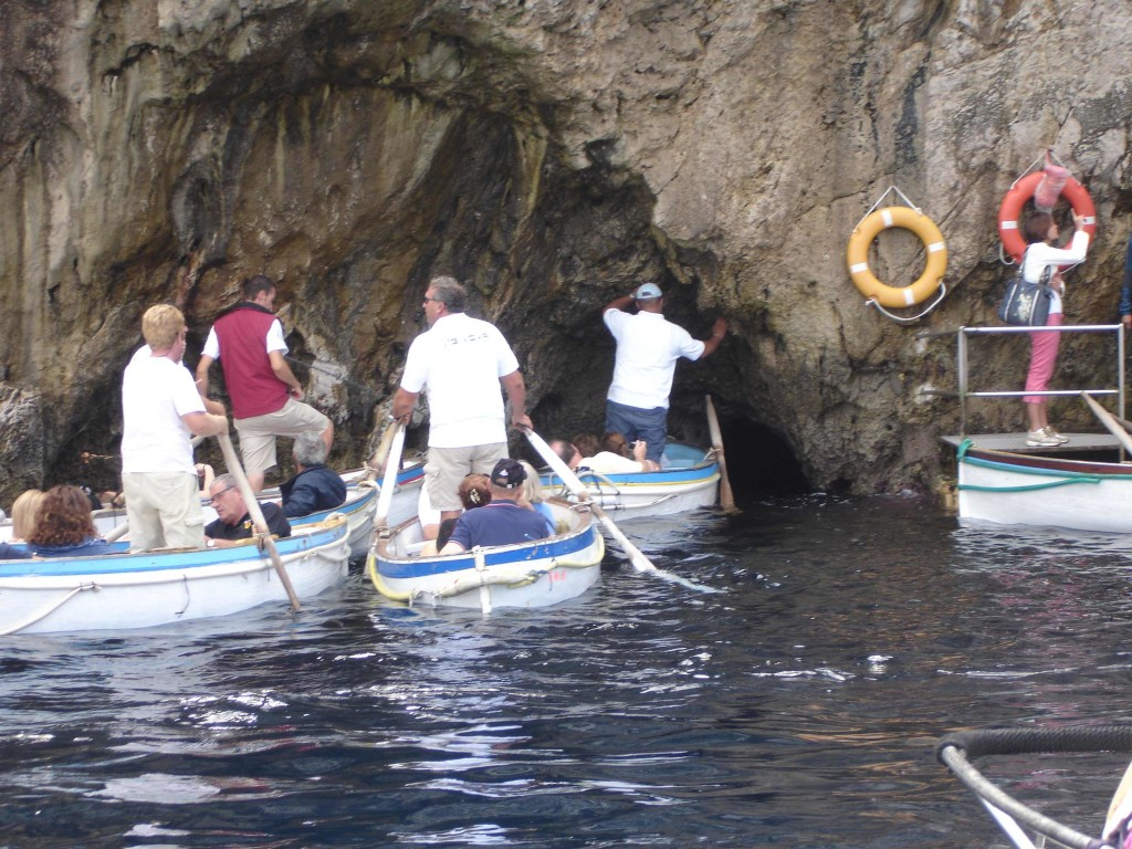 Finally on our way into the Grotto, but how are those rowing boats going to squeeze through that small gap?