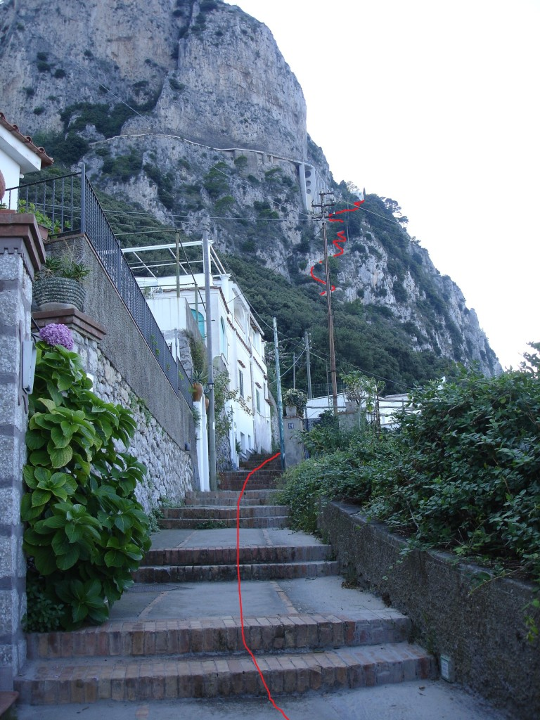 Only take the pedestrian route up to Anacapri if you are training to climb steep stairways for charity, or if you are completely mad (the red line here has been Photoshopped in to indicate the route of the path and is not a piece of string left out to help stop climbers from losing their way)