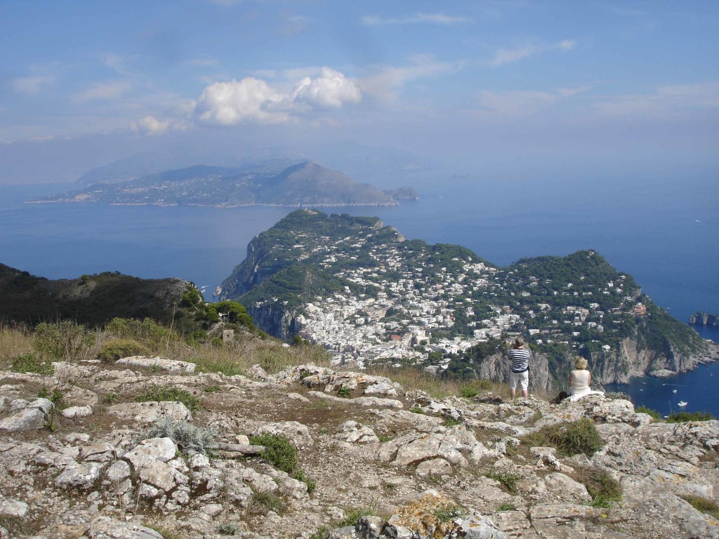Capri Town and the coast of the Italian mainland in the distance