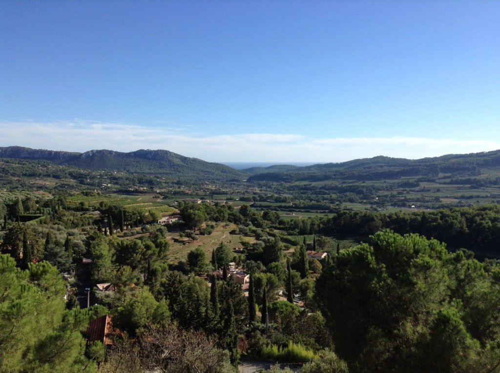 The view across Provence to the Mediterranean sea beyond, from the ledge of 'Le Trou de Madame' in the delightful medieval village of La Castellet, 8km north of Bandol