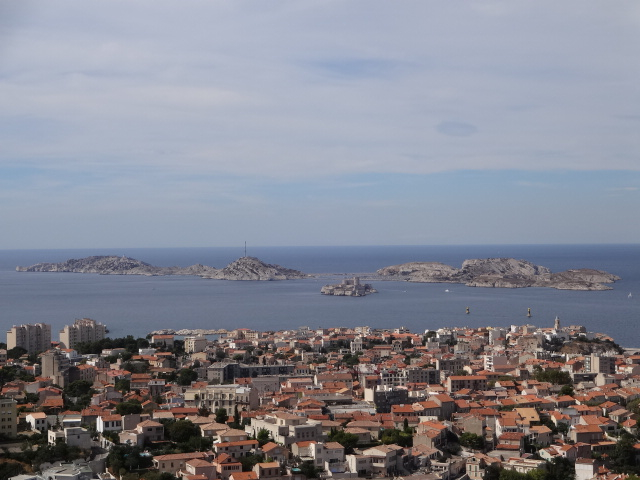 The three islands of Frioul: Iles d'If (middle), Ratonneau and Pomegues seen from Notre Dame de la Garde. The 16th Century fortress-turned-prison on Iles d'If was made famous by Alexandre Dumas in his novel The Count of Monte Cristo