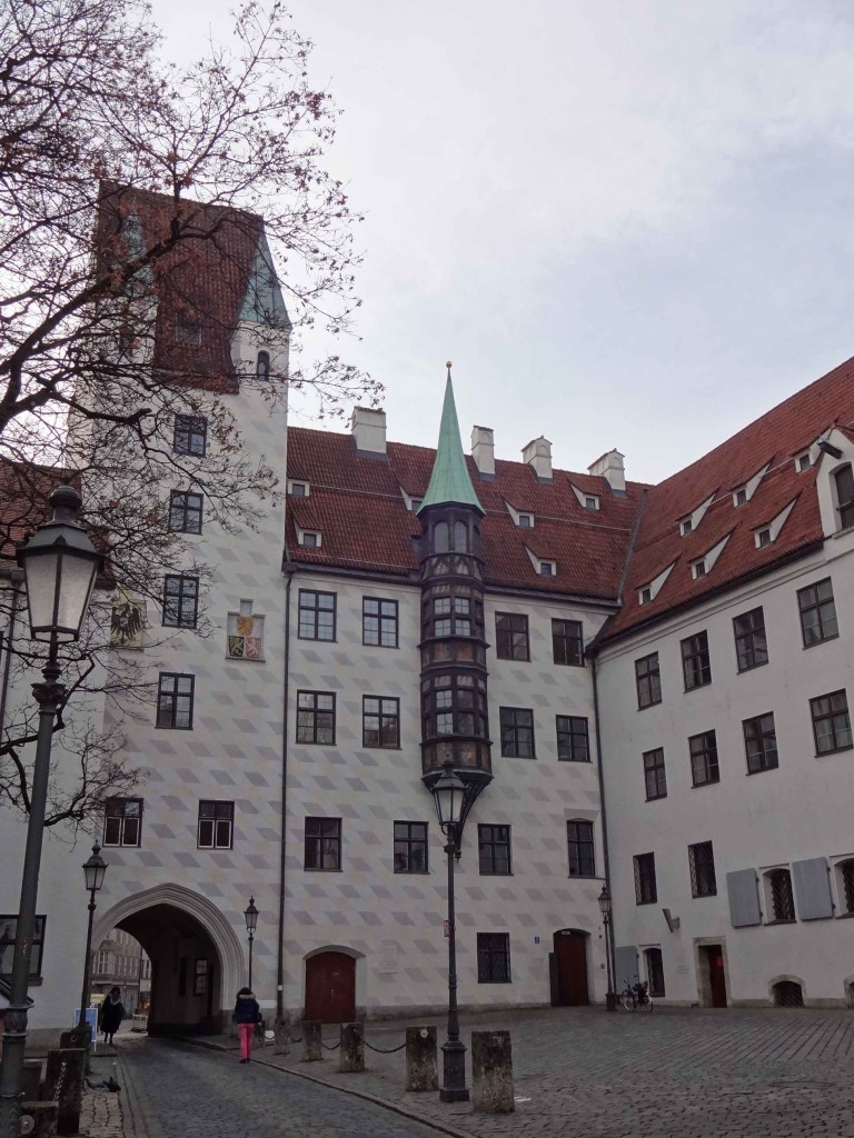 The Alter Hof, once the home of the Bavarian royal family, dating back in parts to the 12th century. It appears sensible enough, until the legend of its oriel window (centre) is told ...