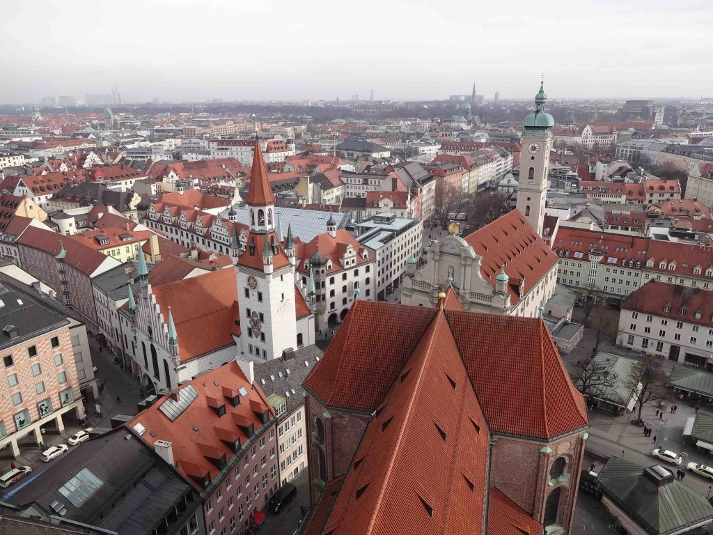 Typical Bavarian rooftops seen from the bell tower of St Peterskirche, although most of these (including the bell tower) date circa 1945. Most of what can be seen in this photograph was reconstructed after severe bomb damage during the Second World War. The Altas Rathaus (Old Town Hall) also damaged heavily during the war, is centre left