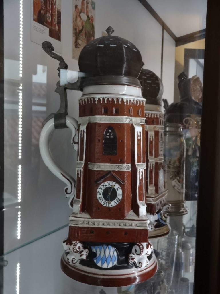 Munich Oktoberfest beer steins shaped as the Frankenkirche side view