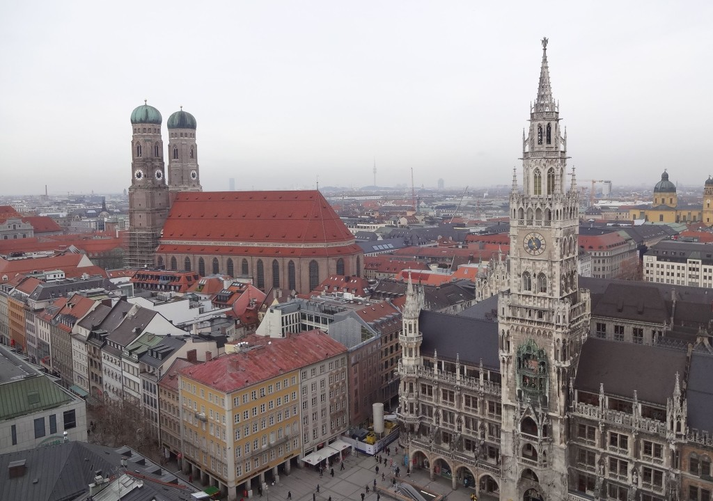 The distinctive onion shaped domes of the Frauenkirche (Church of Our Lady) and the Neues Rathaus (New Town Hall) overlooking the square of Marienplatz. A delightful view