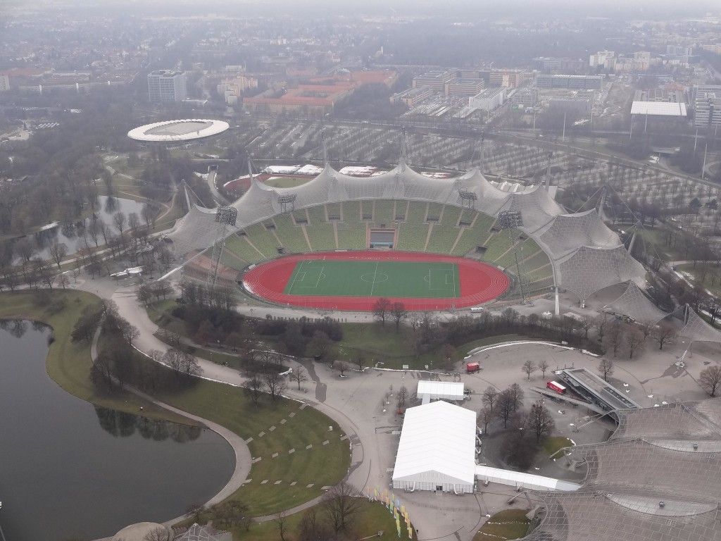 The Munich Olympic stadium from the top of the Olympiaturm, looking good in its forties