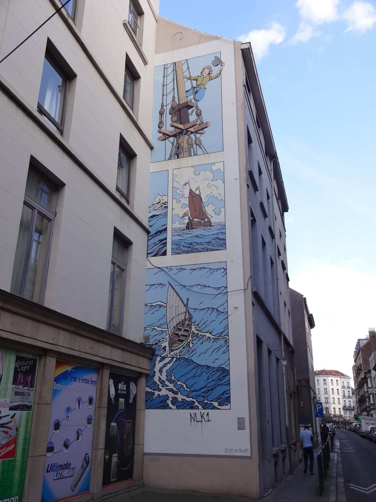 Turn around from Nic to see Bob De Moor's Cori the Sailor's Boy, Rue des Fabriques