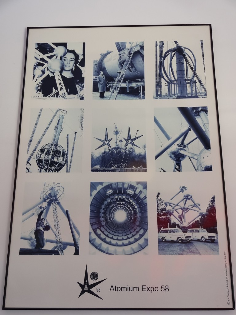 More images from Expo 58, including a snap of one special visitor to the Atomium in that year (top left) ...