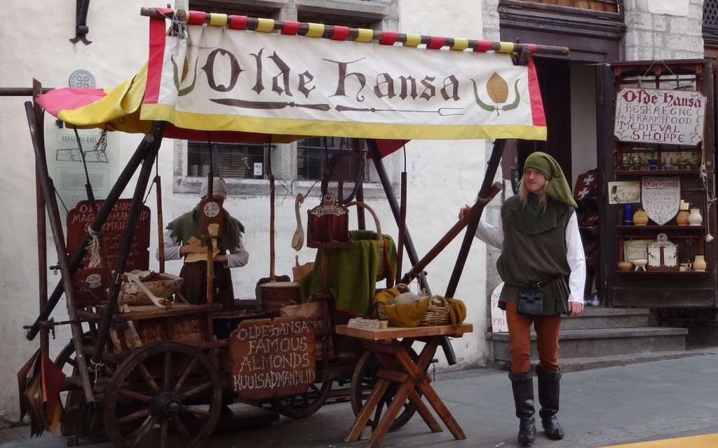 'Peasants' selling authentic medieval snacks outside the Olde Hansa restaurant near the town square (Raekoja Plats)