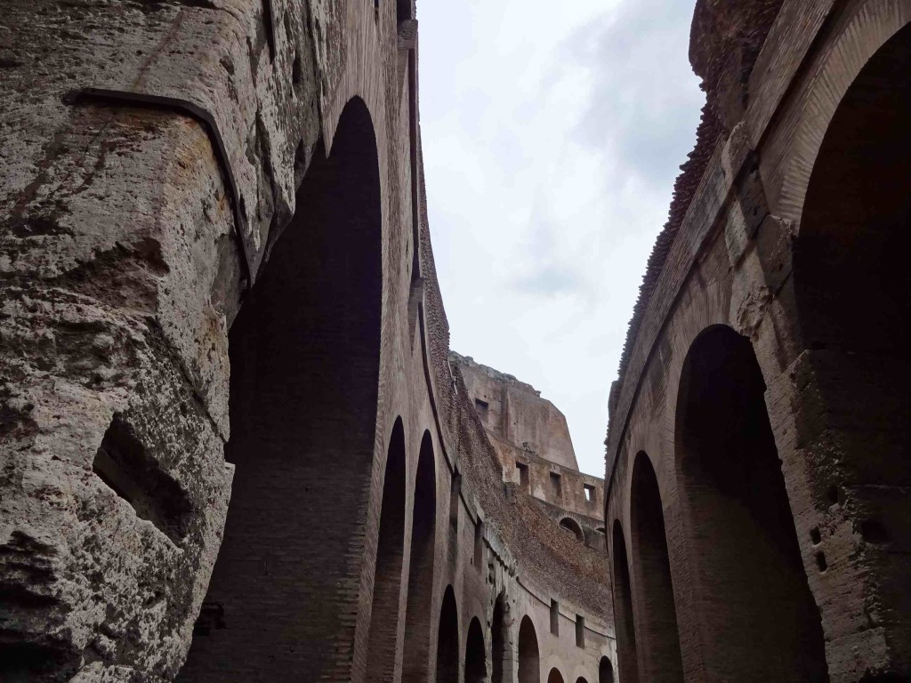 Interior walls that once held up the cavea (seating terraces)