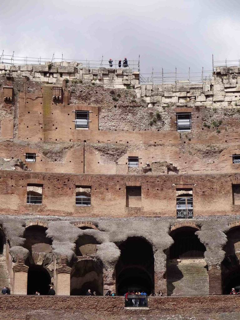 There are three tiers to the Colosseum where access to the first two are open to every ticket holder. Access to the higher third tier has to be booked in advance. Access to the very top on those dodgy looking blocks is best left to reconstruction workers