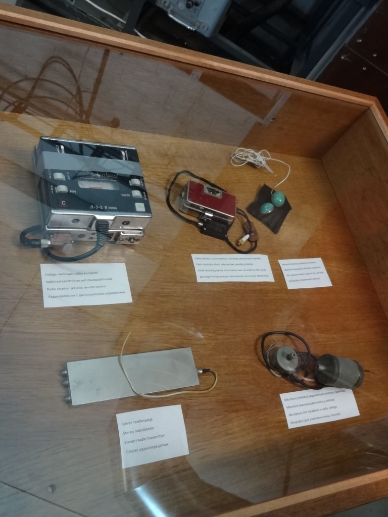 Items that would make even 'Q' salivate with excitement: on display in the museum are items that were found within the hotel during a complete sweep of the complex after independence, revealing how the KGB listened-in on guests. In this display case are actual listening 'bugs', one disguised and worn as cufflinks (top right)