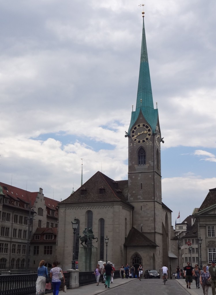 The clock faces on neighbouring Fraumünster are clearly not as big as St Peterskirche's, but this 13th century church has a far more impressive draw
