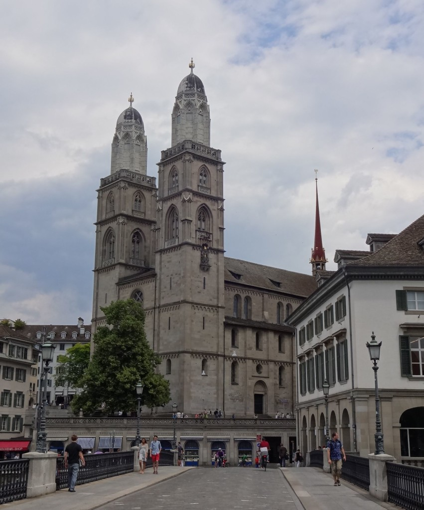 The Grossmünster, just across the bridge from the Fraumünster doesn't have a clock face, but its windows certainly rival those of Chagall's in beauty and modernity