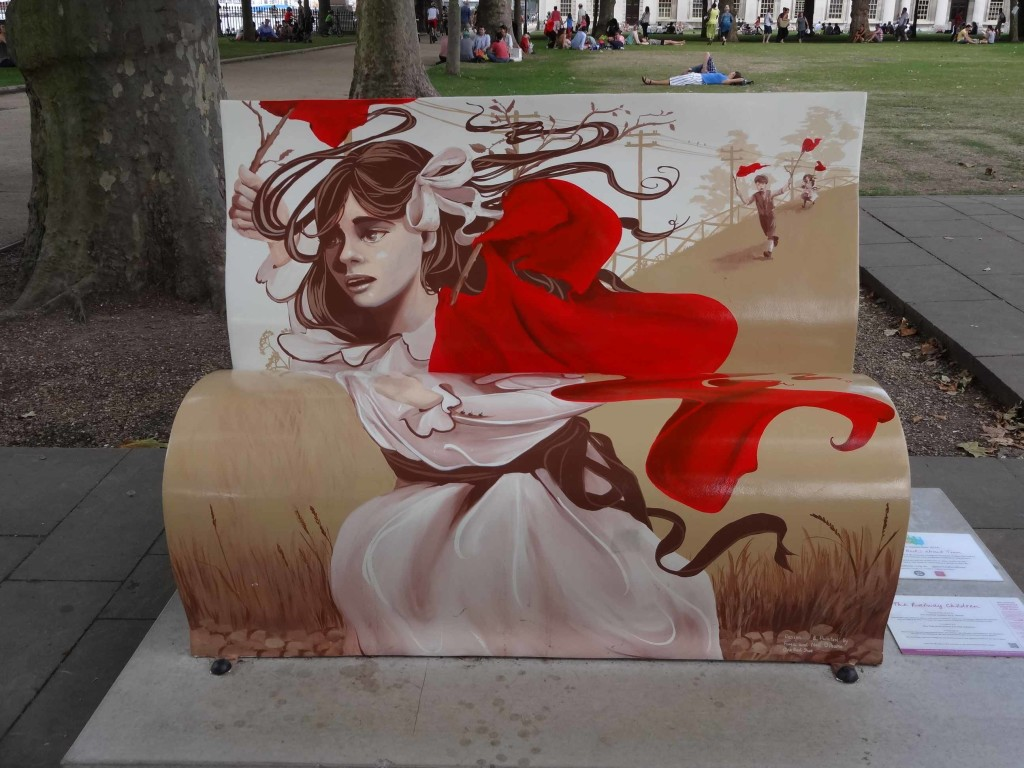 One cannot miss the sight of the Railway Children bookbench