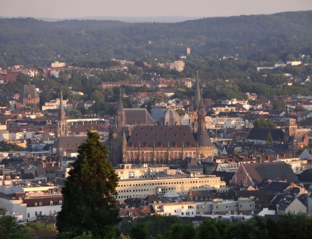 The cathedral and the Rathaus, seen from the top of Aachen's Lousberg Hill