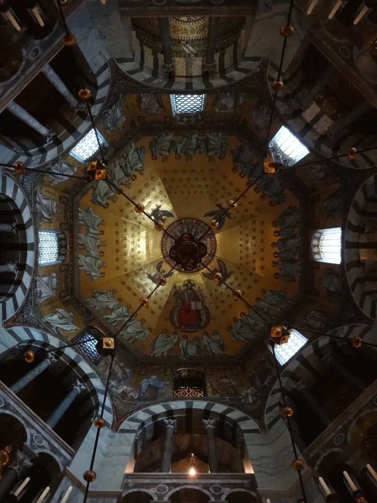 Looking up at the angels: the stunning interior of the octagonal cupola over the Palace Chapel