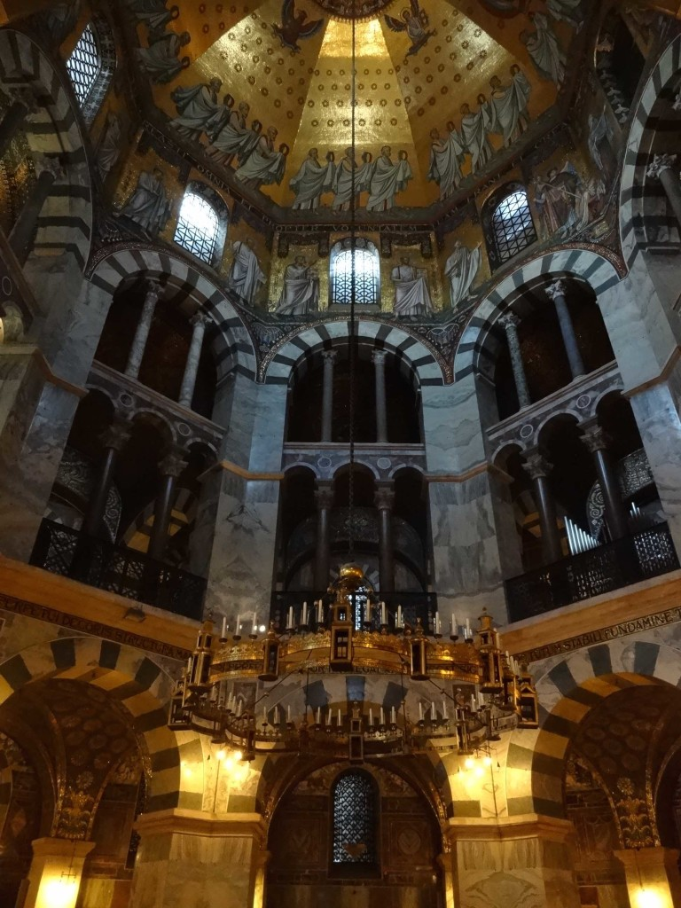 The chandelier was a gift from Emperor Frederick I Barbarossa to the cathedral in the year 1165 AD to represent the new Jerusalem