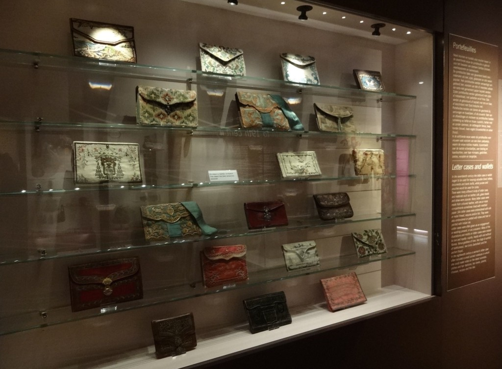 Nineteenth century letter cases and wallets on display at the Tassenmuseum